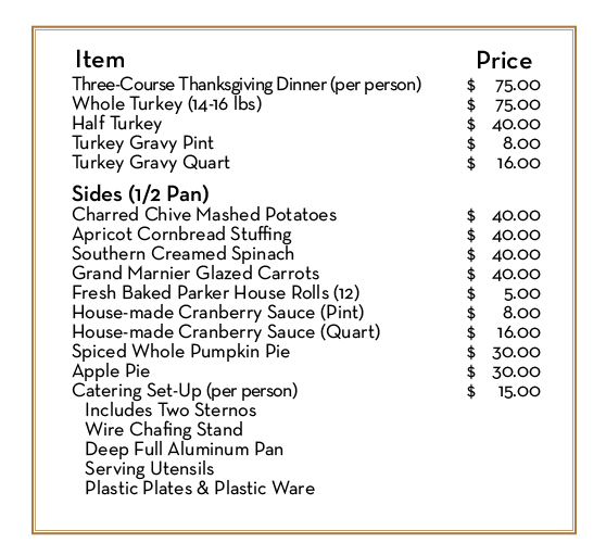 Chicago Cut Thanksgiving Catering Menu